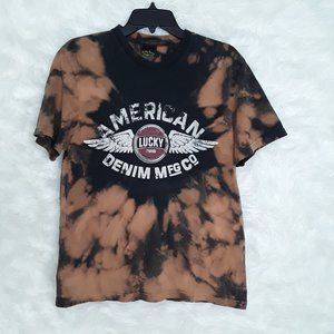 BLEACHED LUCKY BRAND Classic Fit T-Shirt SMALL